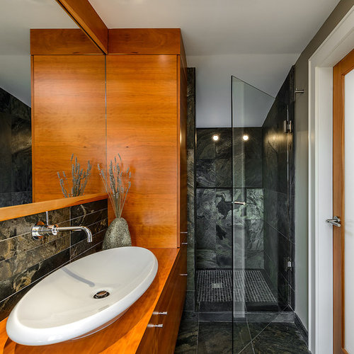 Inspiration For A Contemporary Black Tile Alcove Shower Remodel In  Vancouver With A Vessel Sink,