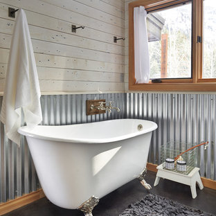 Inspiration for a cottage claw-foot bathtub remodel in Seattle