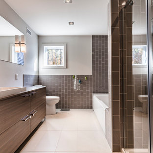 Mid Sized Trendy Master Brown Tile And Subway Bathroom Photo In Montreal With A