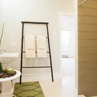 Example of a trendy bathroom design in Boston with a pedestal sink
