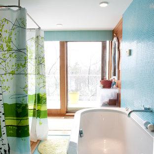 Trendy freestanding bathtub photo in Boston