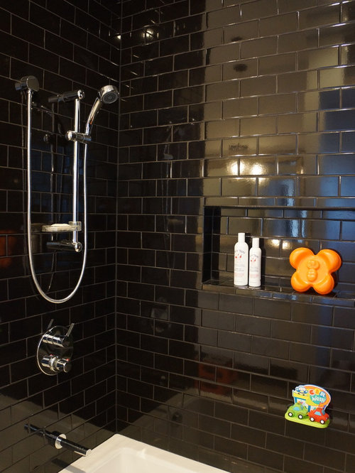 Black Subway Tile black tile bathroom | houzz