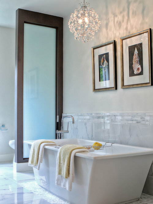 Inspiration for a contemporary gray tile and porcelain tile freestanding  bathtub remodel in Vancouver. Grey And Beige Tones  Bathroom Ideas   Houzz