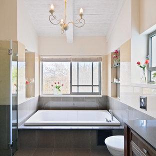 Example of a trendy drop-in bathtub design in Tel Aviv