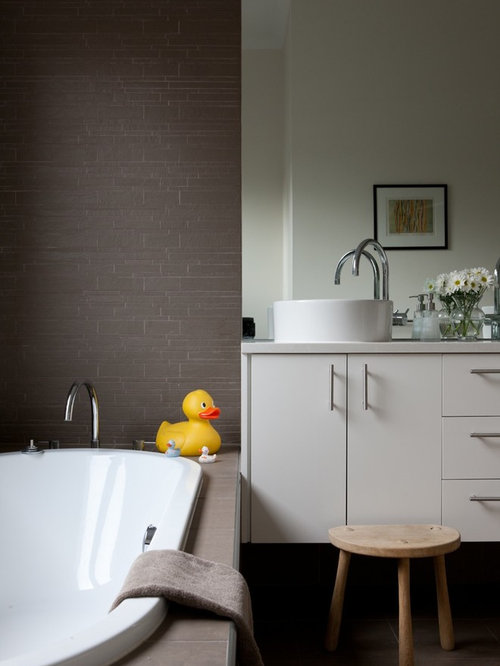 Dark gray bathroom vanity home design ideas pictures for Dark grey bathroom accessories