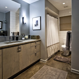 Example of a trendy concrete floor bathroom design in Houston with flat-panel cabinets