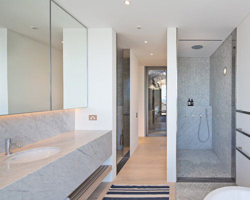 Design Ideas For An Expansive Contemporary Master Bathroom In Sydney With  White Walls, Light Hardwood