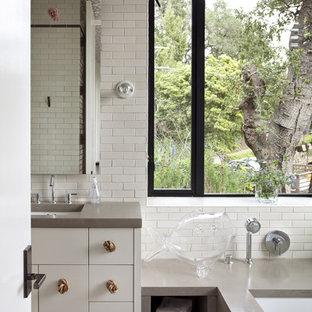 Bathroom - contemporary subway tile bathroom idea in San Francisco with an undermount sink
