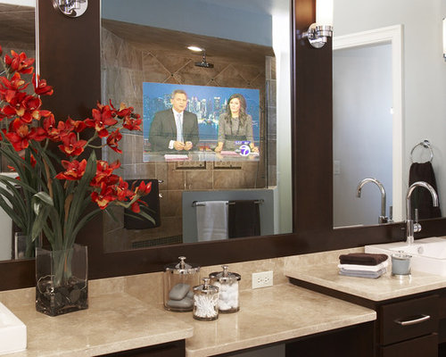 tv behind bathroom mirror tv mirror houzz 21060