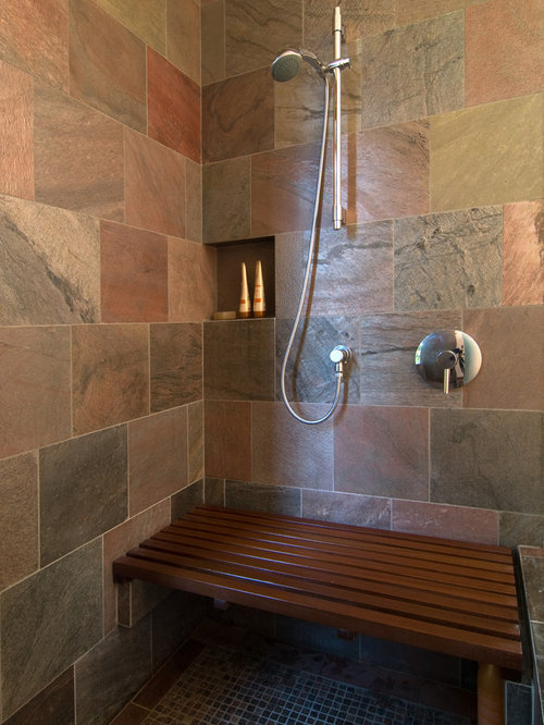 Mid Sized Trendy Stone Tile Doorless Shower Photo In San Francisco With An  Undermount Sink