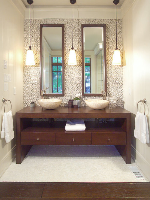 Luxury Bathroom  Bathroom Pendant Lighting Double Vanity Tv Above Fireplace