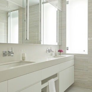 Inspiration For A Contemporary Beige Tile And Gray Floor Bathroom Remodel In New York