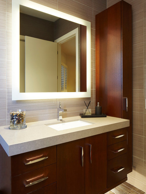 Example Of A Trendy Gray Tile Bathroom Design In Miami With An Undermount Sink Flat