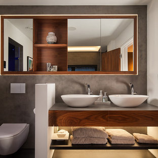 Contemporary bathroom: walnut, grey, white