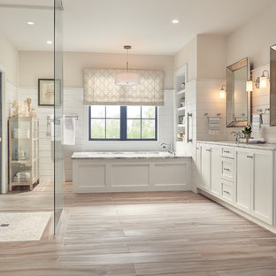 Contemporary Bathroom with Stickley door style in Arctic White