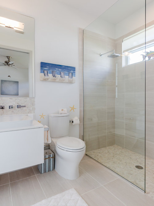 Inspiration For A Contemporary Beige Tile Beige Floor Bathroom Remodel In  Miami With Flat Panel