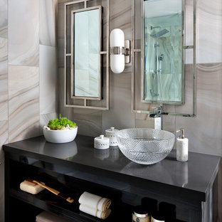 Inspiration for a contemporary master gray tile bathroom remodel in Toronto with quartzite countertops
