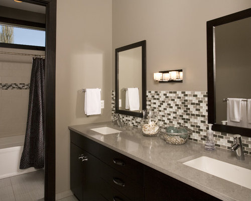 contemporary tubshower combo idea in seattle with an undermount sink black cabinets - Bathroom Backsplash