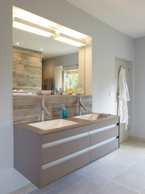 large trendy master ceramic floor bathroom photo in berkshire with flatpanel cabinets an