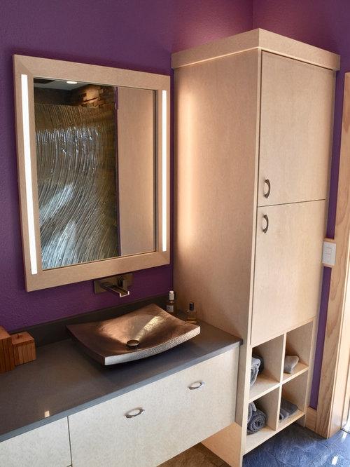 Fotos de ba os dise os de ba os violetas con suelo de - Suelo ducha pizarra ...