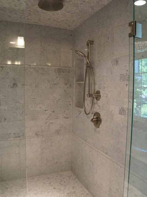 Bathroom design ideas renovations photos with gray tile for Two piece bathroom ideas