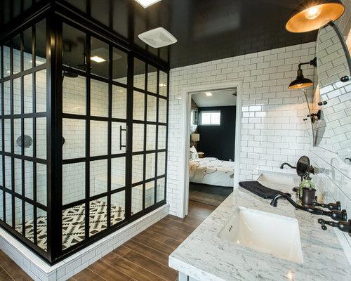 Salle de bain industrielle avec un carrelage m tro for Salle bain industriel