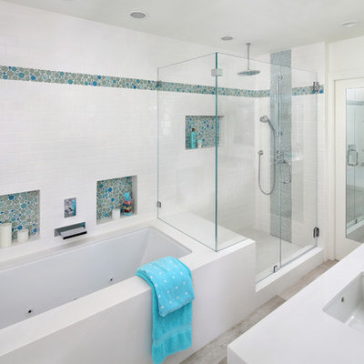 Corner shower - large contemporary kids' white tile and subway tile porcelain tile corner shower idea in San Francisco with an undermount sink, quartz countertops, an undermount tub, white walls and a hinged shower door