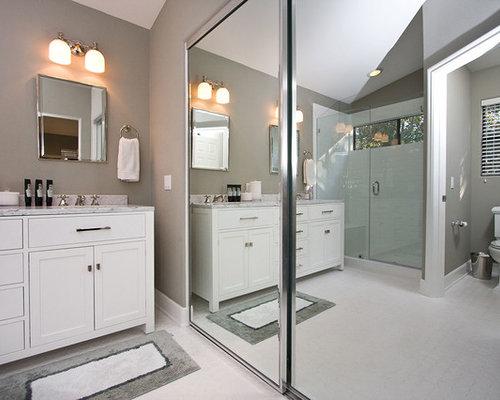 Contemporary Gray & White Bathroom Remodel