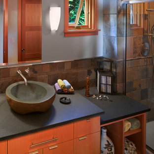 Contemporary Guest Bath with Asian influence