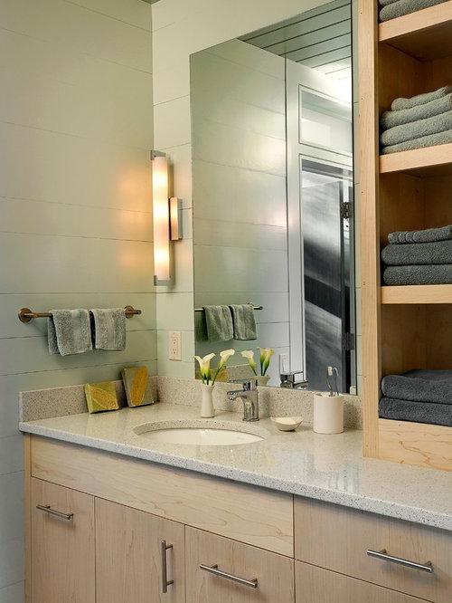 Contemporary Bathroom Idea In Burlington With Granite Countertops