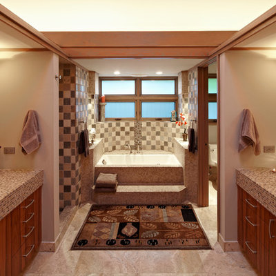 Inspiration for a contemporary mosaic tile bathroom remodel in Miami