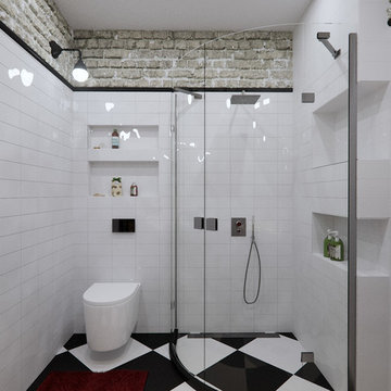 Contemporary Industrial bathroom and shower
