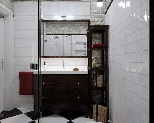 salle de bain industrielle avec un placard porte affleurante photos et id es d co de salles. Black Bedroom Furniture Sets. Home Design Ideas