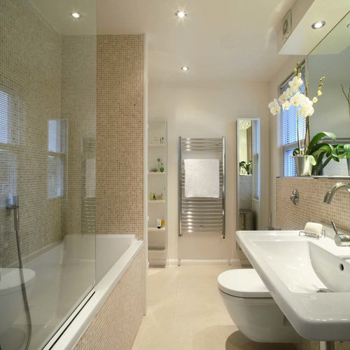 Inspiration For A Mid Sized Contemporary Beige Tile And Mosaic Tile Beige  Floor Bathroom Remodel Part 60