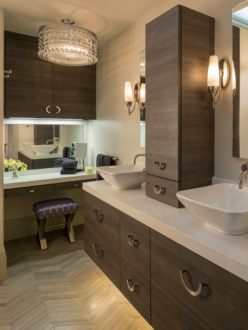 Contemporary Master Bathroom Idea In San Francisco With A Vessel Sink,  Flat Panel Cabinets