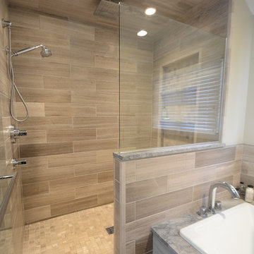 Contemporary master bath addition and remodel, Whitefish Bay contractor