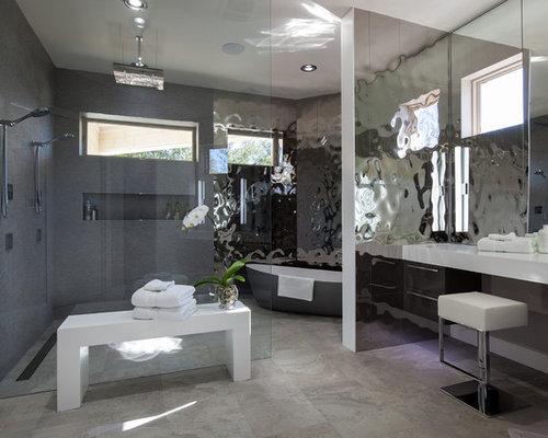 Bagno padronale con piastrelle a specchio foto idee arredamento