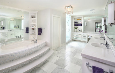Room of the Day: Luxe Hotel Look for an All-White Master Bath