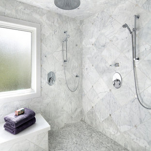 Example of a large transitional master white tile double shower design in San Francisco