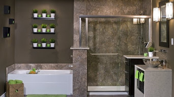 Contemporary Master Bathroom with Glass Shower, Freestanding Vanity and Soaking