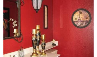Contemporary Red Bathroom, Powder Room