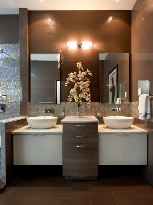 large contemporary master brown tile and ceramic tile ceramic floor bathroom idea in other with a