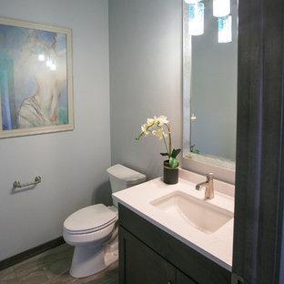 他の地域の小さいラスティックスタイルのおしゃれなバスルーム (浴槽なし) (落し込みパネル扉のキャビネット、濃色木目調キャビネット、分離型トイレ、青い壁、クッションフロア、アンダーカウンター洗面器、人工大理石カウンター) の写真