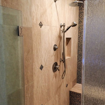 Contemporary Shower Design With Vein Cut Tile