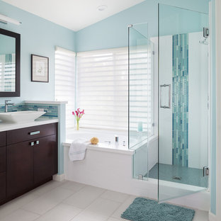 Bathroom   Mid Sized Contemporary Master Blue Tile And Mosaic Tile  Porcelain Floor And White