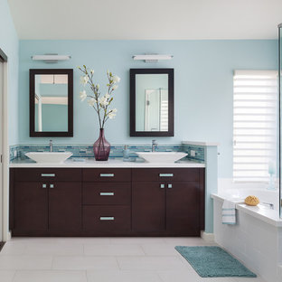 Example Of A Mid Sized Trendy Master Blue Tile And Glass Tile Porcelain  Floor And