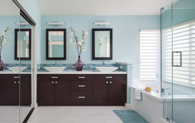 Trend Room of the Day Room of the Day Breezy Colors Soothe and Relax in a Master Bath