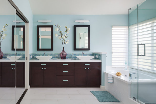 Cute Contemporary Bathroom by Soul Interiors Design LLC