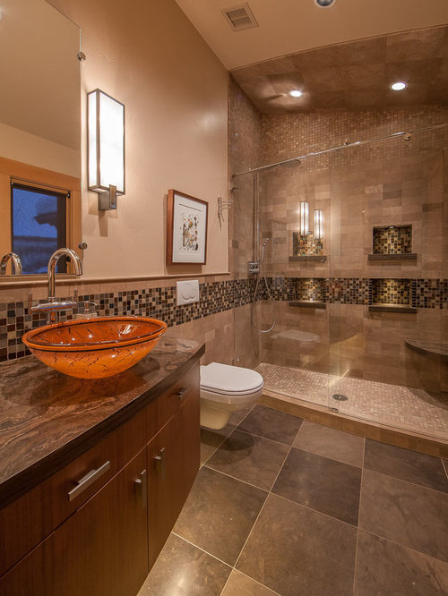 Contemporary Bathroom Idea In Denver With A Vessel Sink, Flat Panel  Cabinets, Medium Part 35