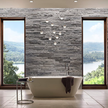 Contemporary Stone Bathroom With a View